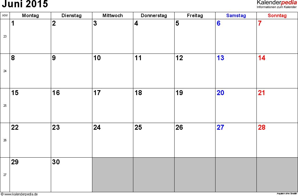 Kalender Juni 2015 im Querformat, kleine Ziffern