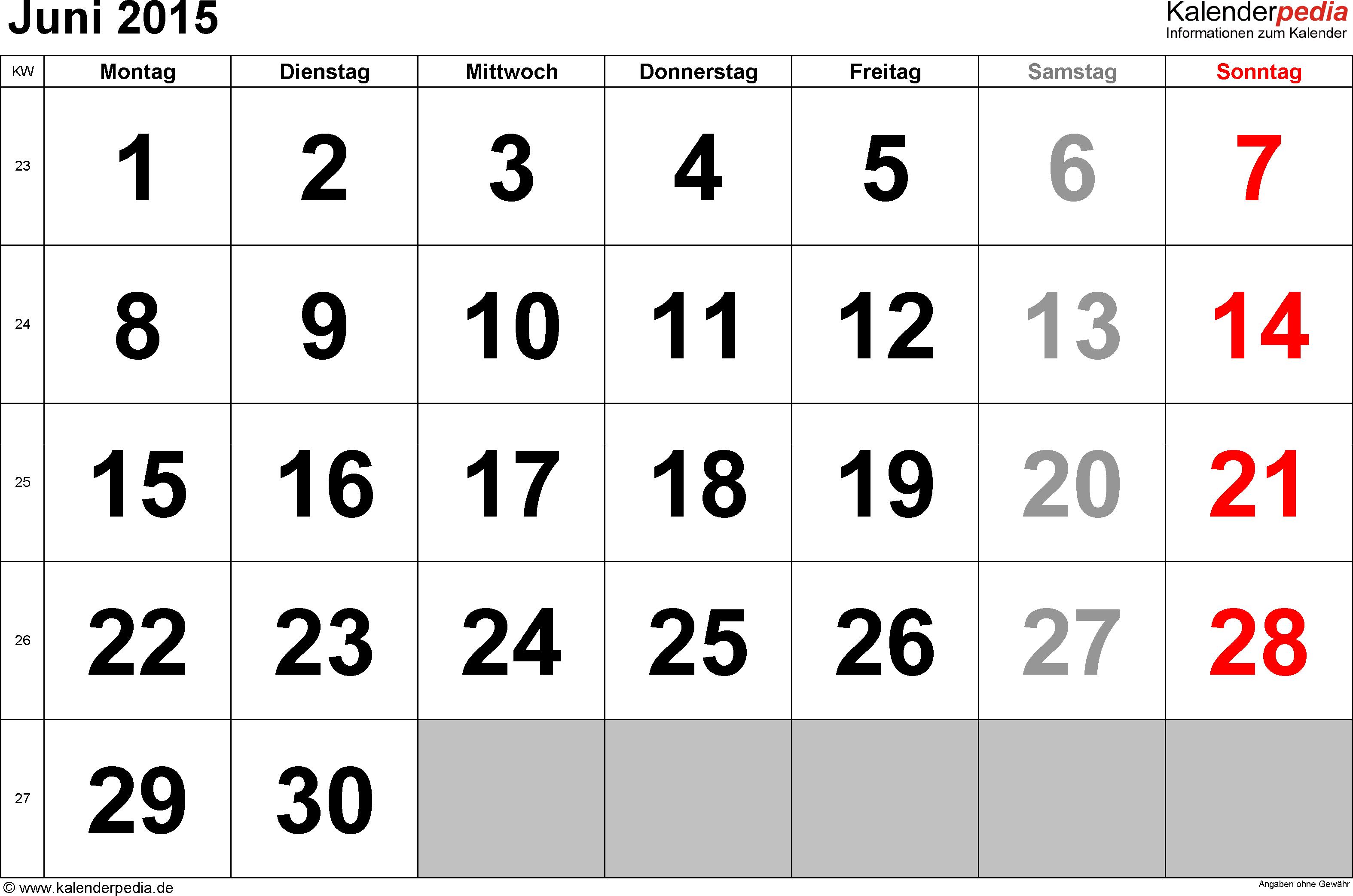 Kalender Juni 2015 im Querformat, grosse Ziffern