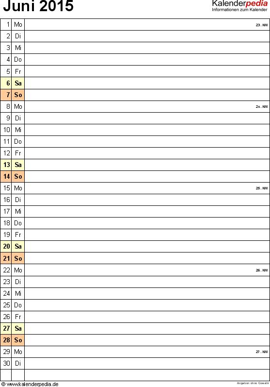 Kalender Juni 2015 (Hochformat) als PDF-Vorlage