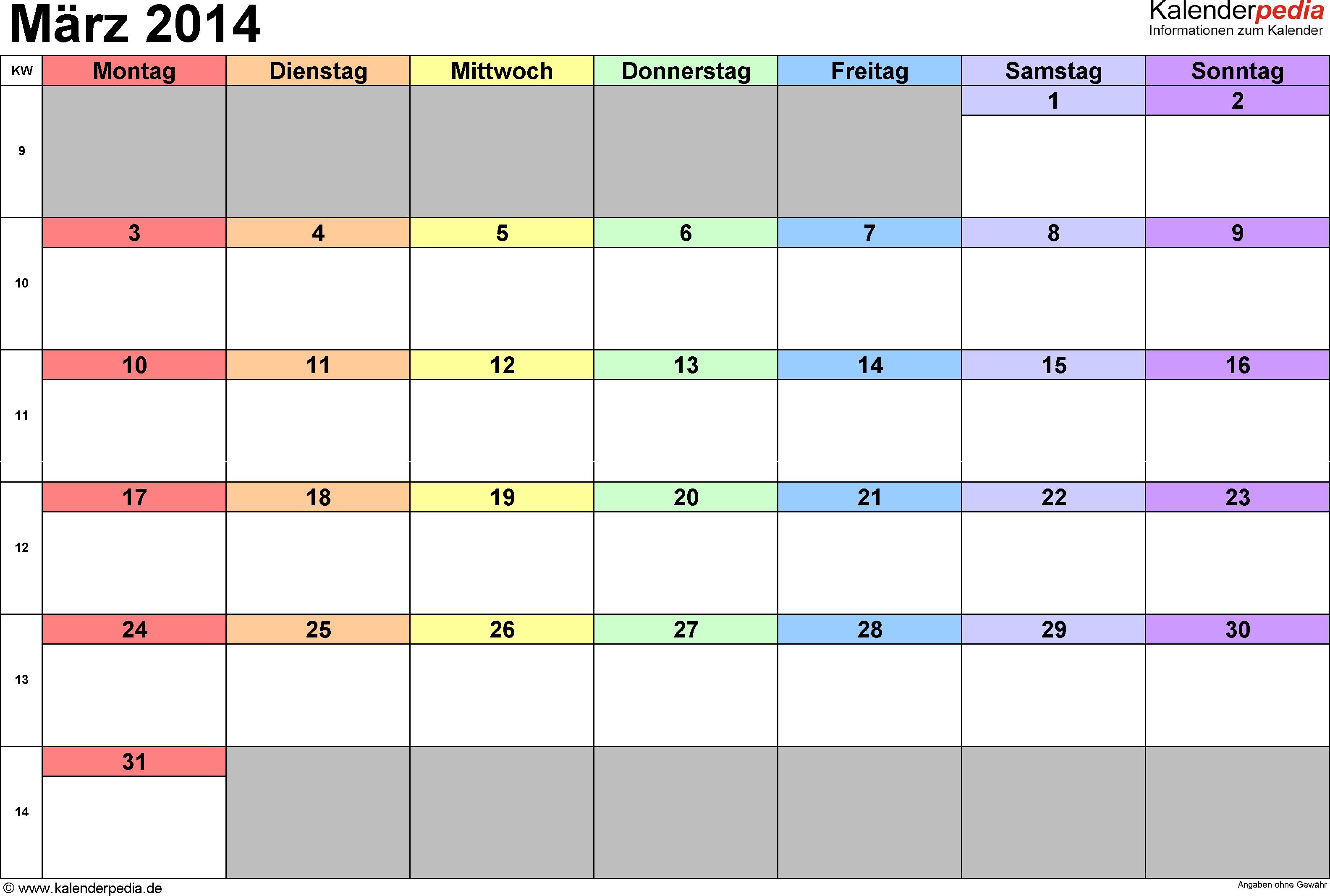 Kalender März 2014 (Querformat) als Excel-Vorlage
