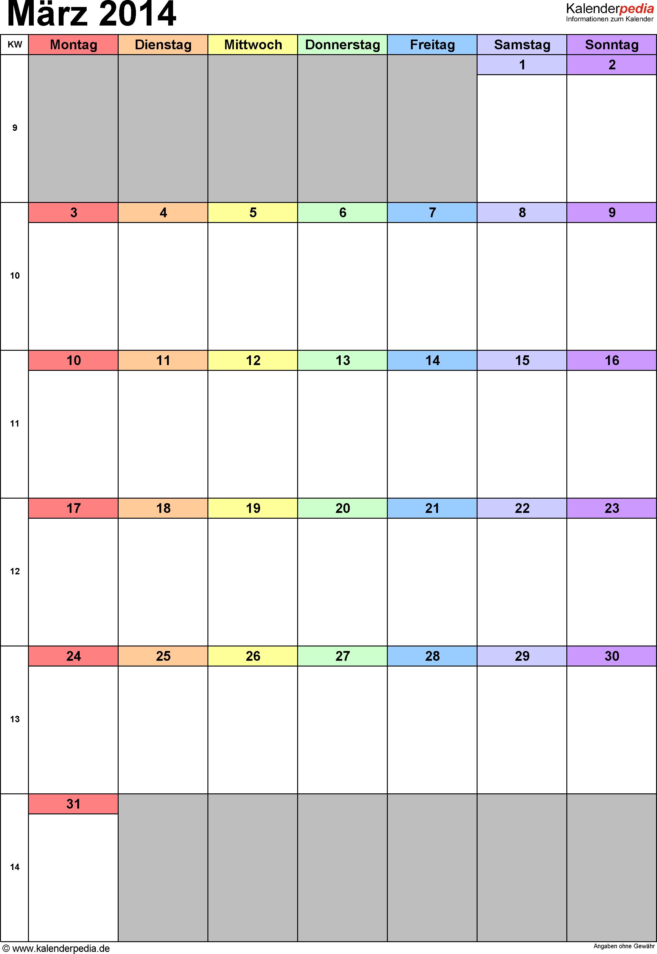 Kalender März 2014 (Hochformat) als Excel-Vorlage