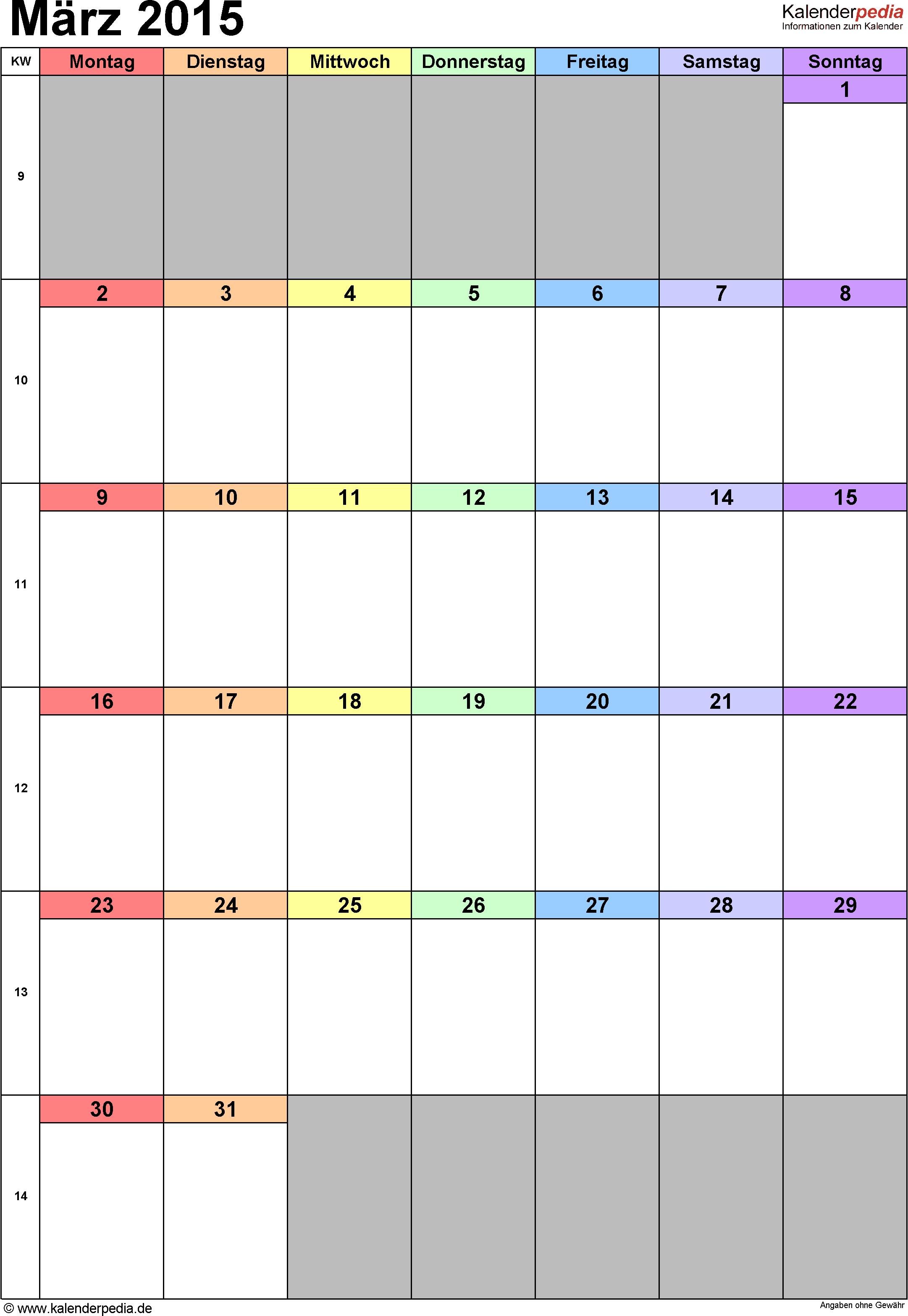 Kalender März 2015 (Hochformat) als Excel-Vorlage