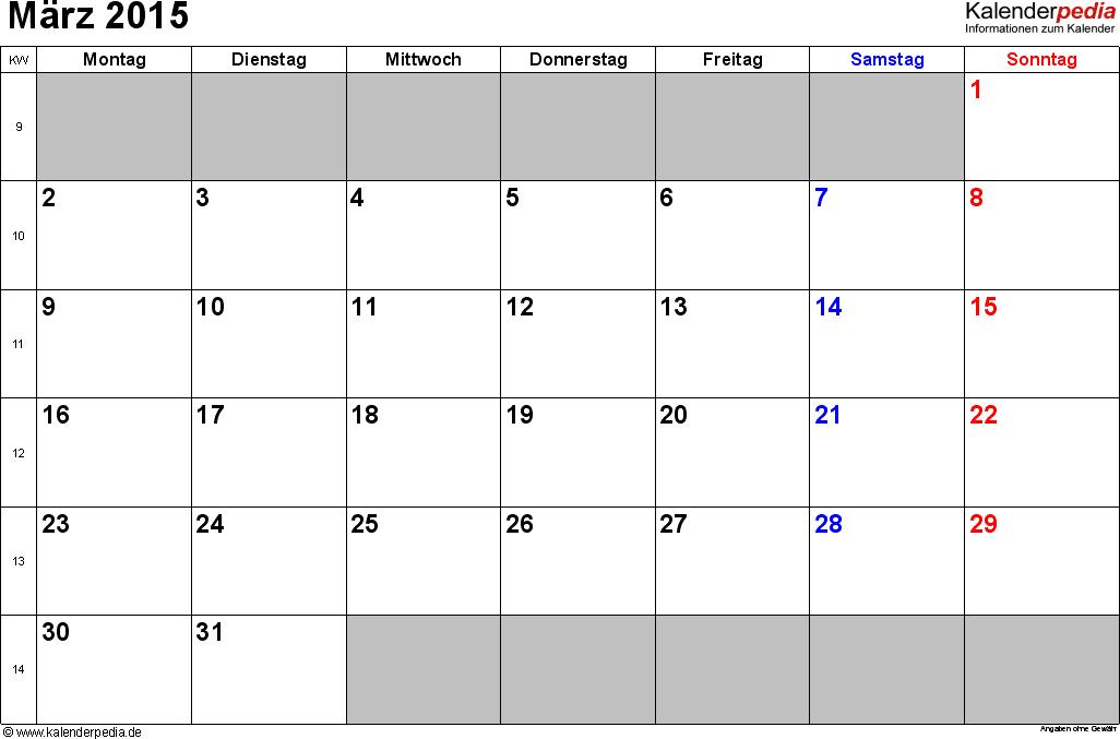 Kalender März 2015 im Querformat, kleine Ziffern