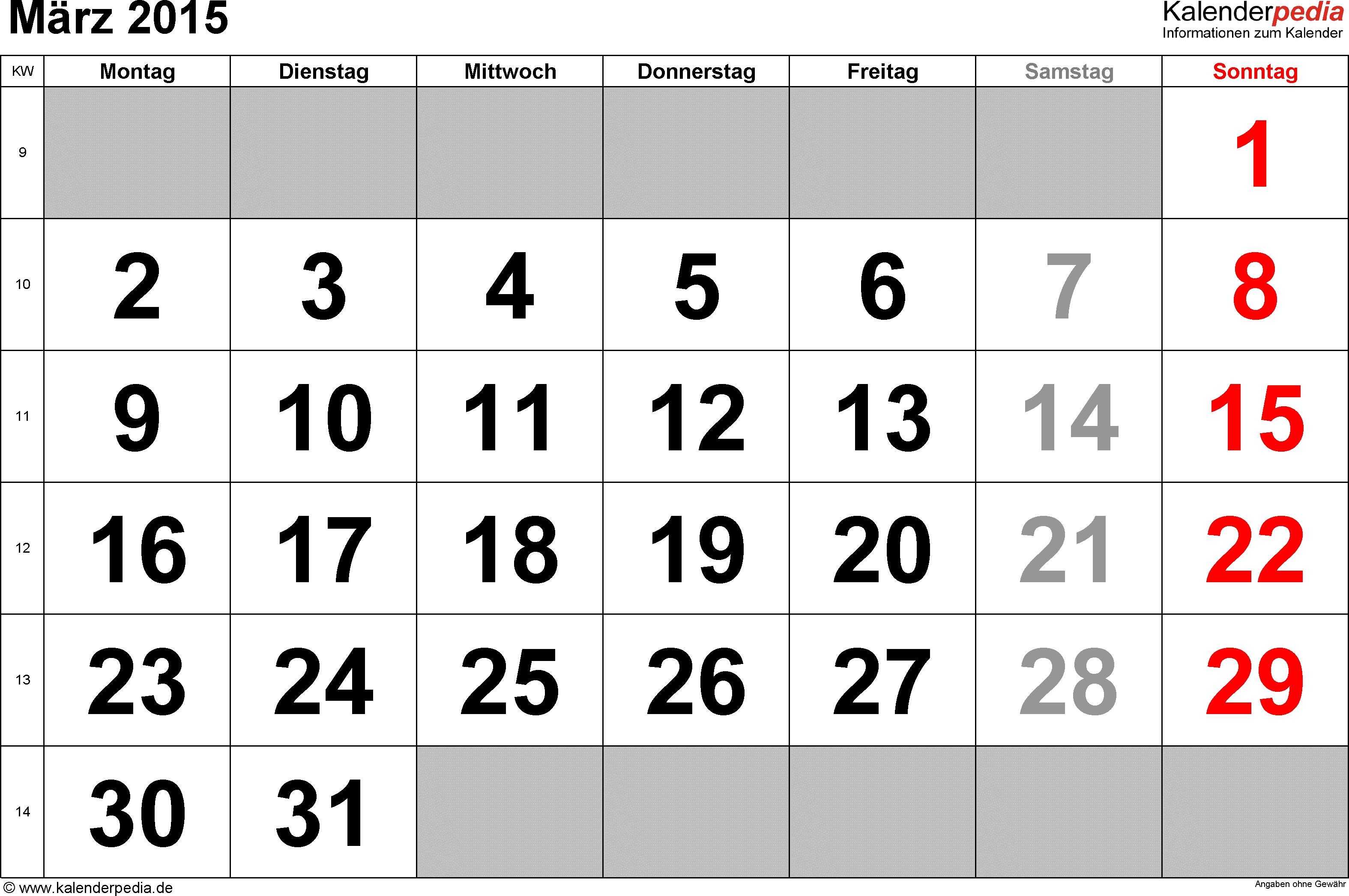 Kalender März 2015 im Querformat, grosse Ziffern