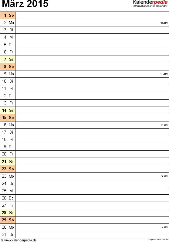 Kalender März 2015 (Hochformat) als PDF-Vorlage
