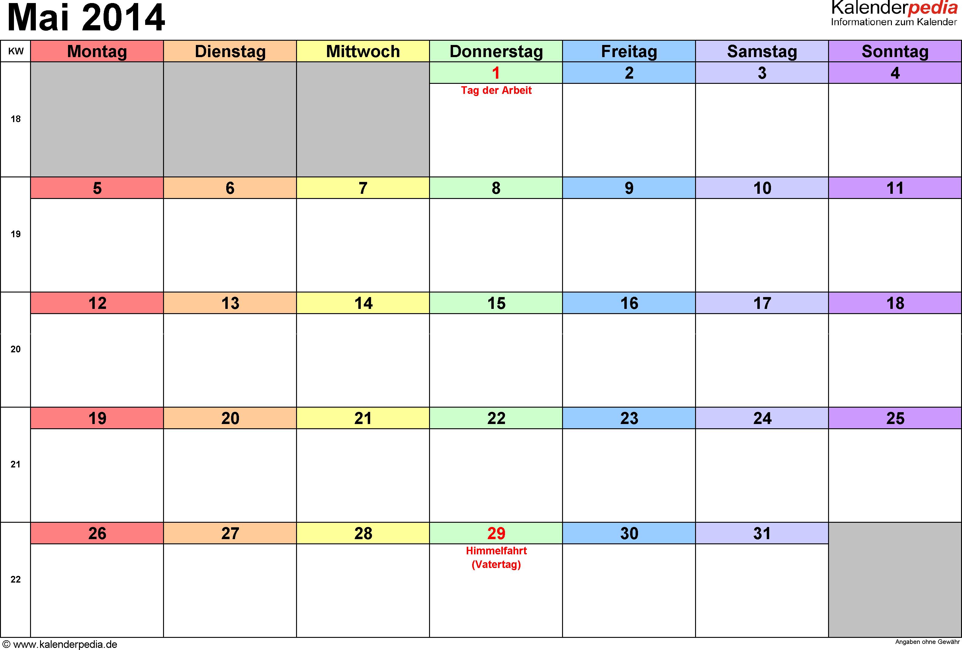 mit bundesweiten Feiertagen & Kalenderwochen Mai 2014