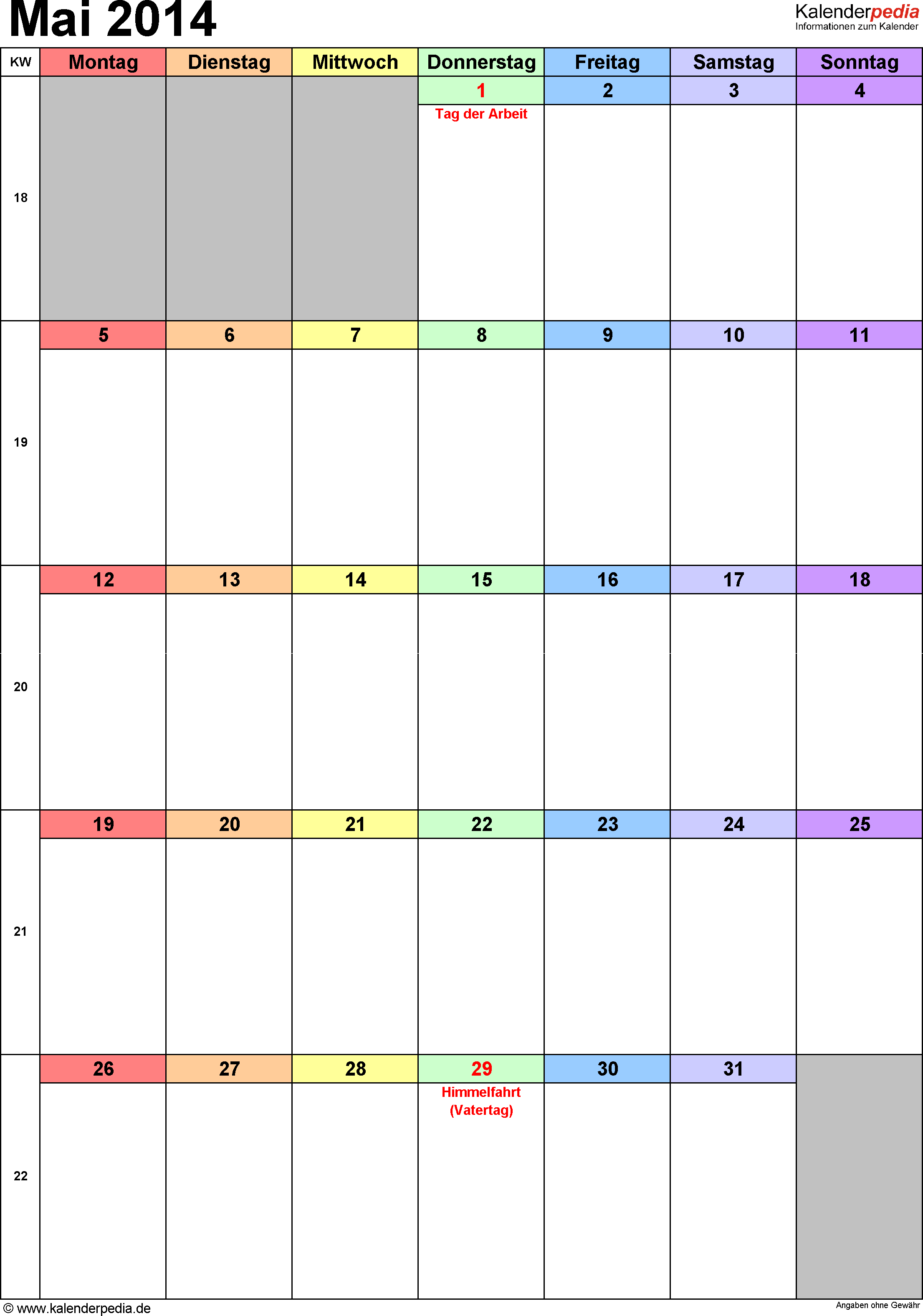 Kalender Mai 2014 (Hochformat) als Excel-Vorlage