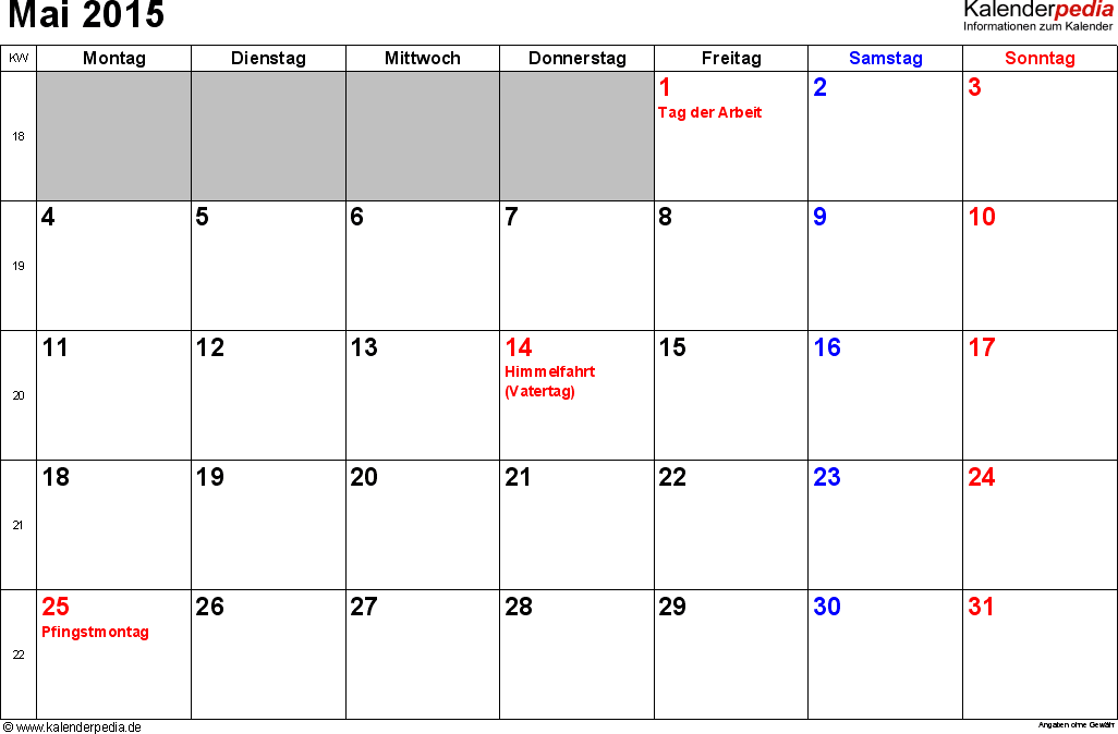 Kalender Mai 2015 im Querformat, kleine Ziffern