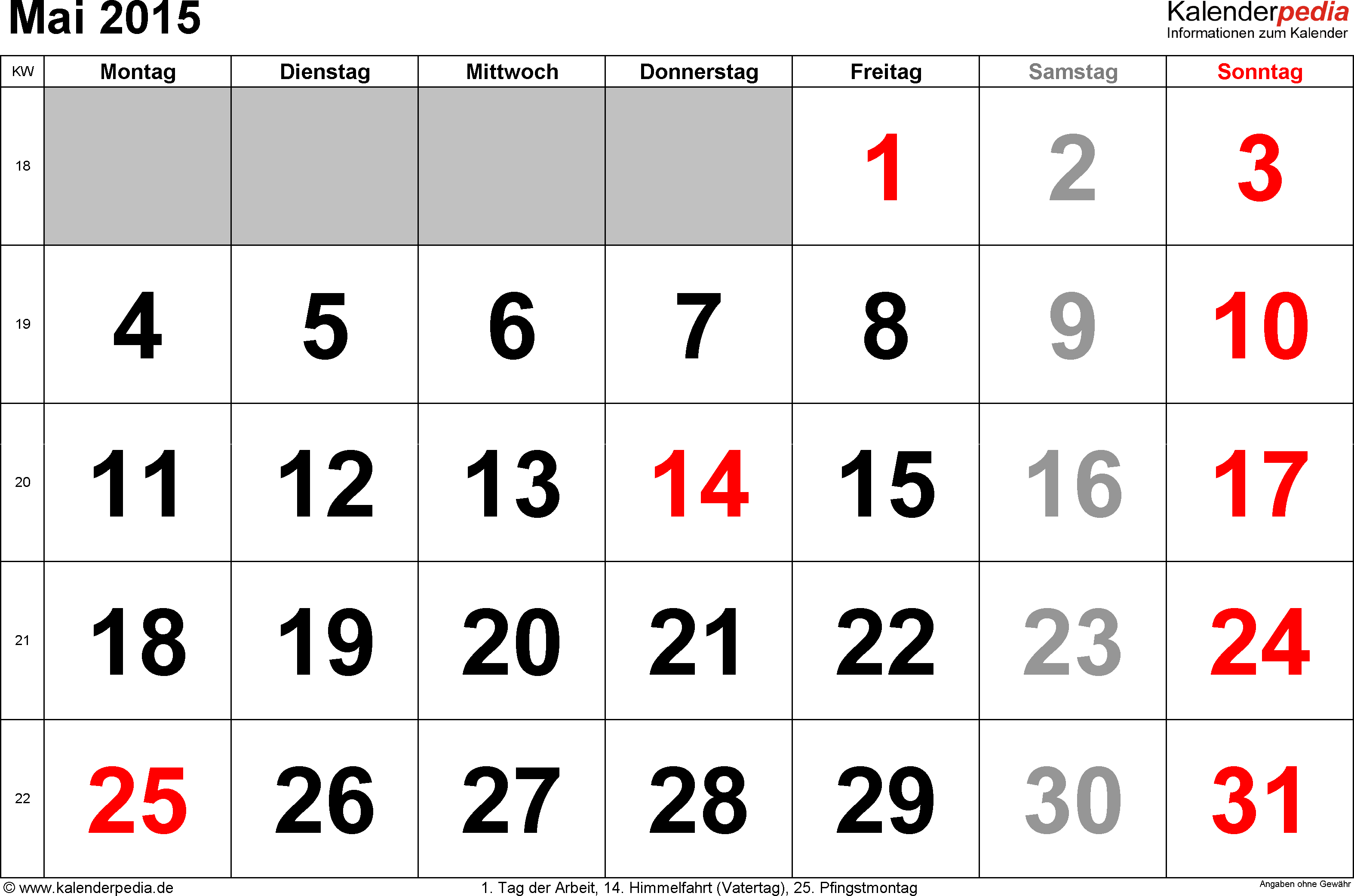 Kalender Mai 2015 im Querformat, grosse Ziffern