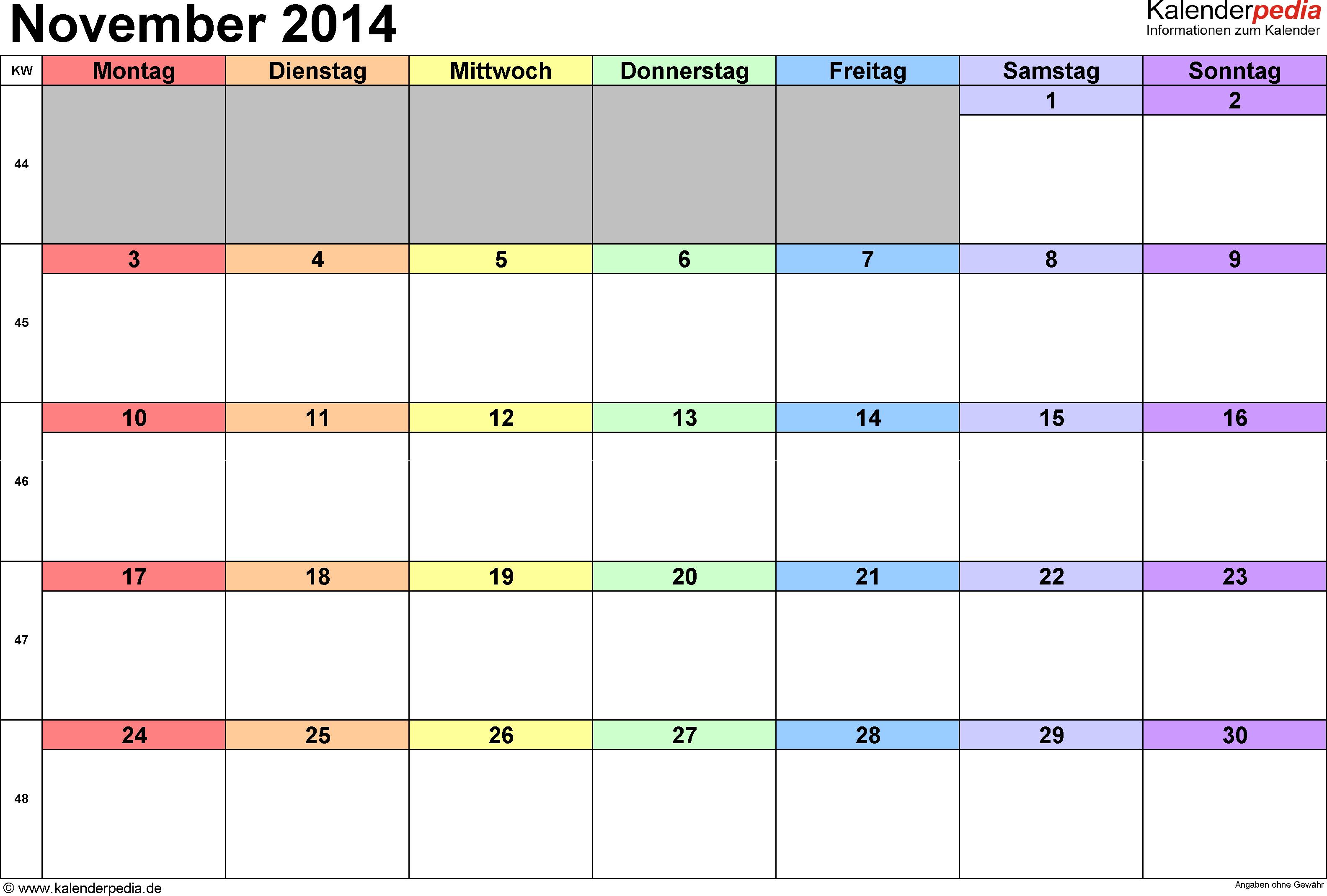 Kalender November 2014 (Querformat) als Excel-Vorlage