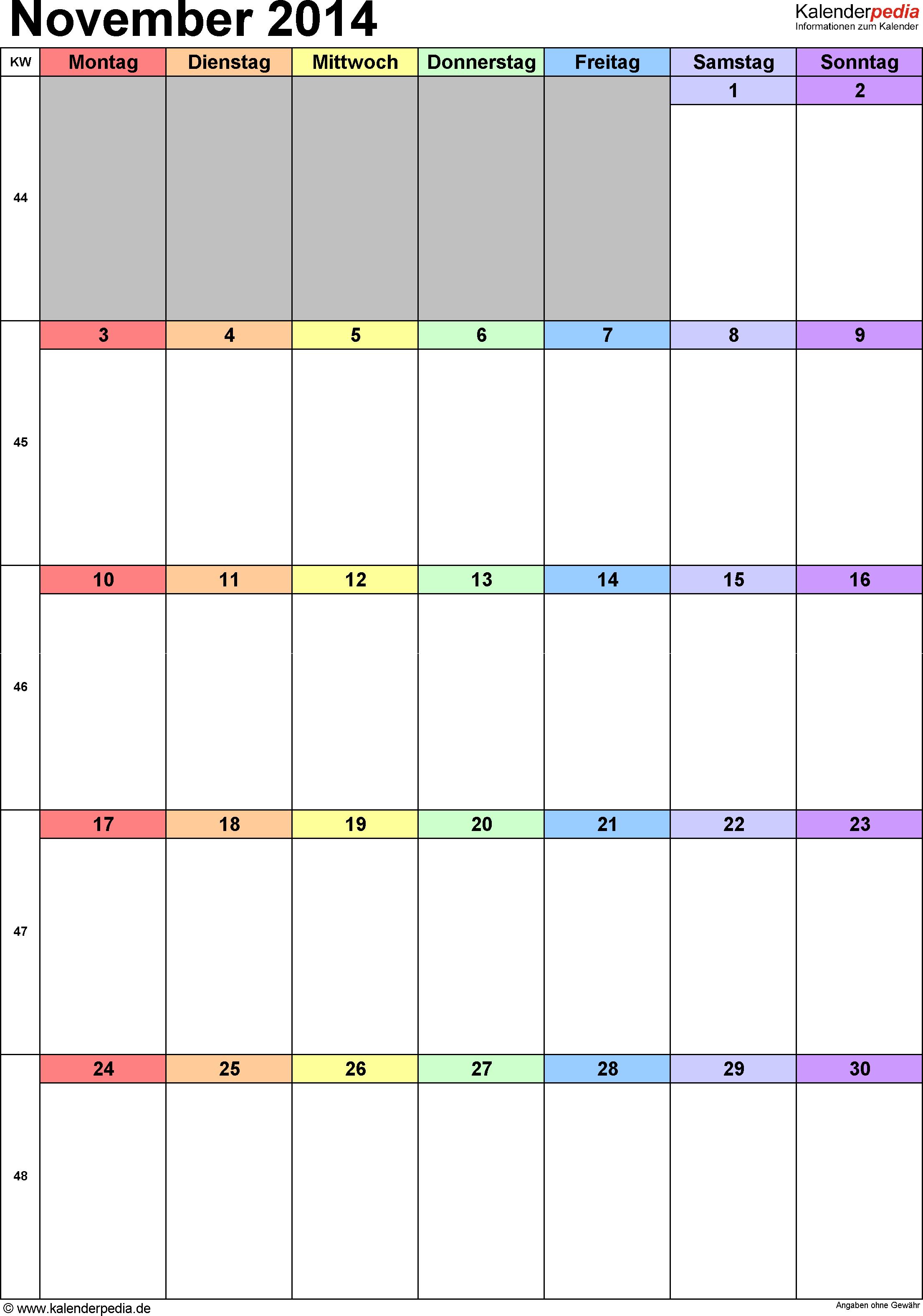 Kalender November 2014 (Hochformat) als Excel-Vorlage