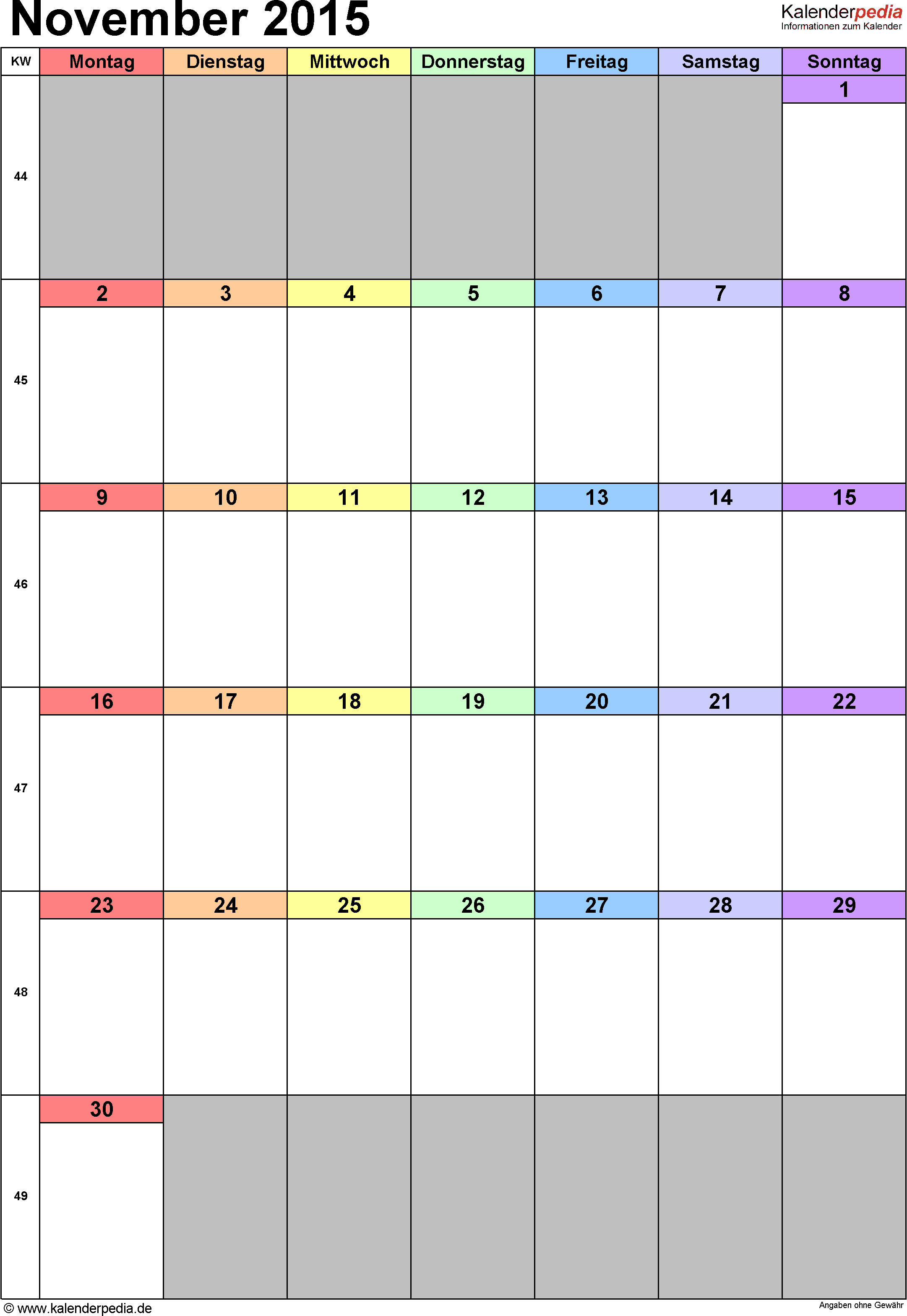 Kalender November 2015 (Hochformat) als Excel-Vorlage