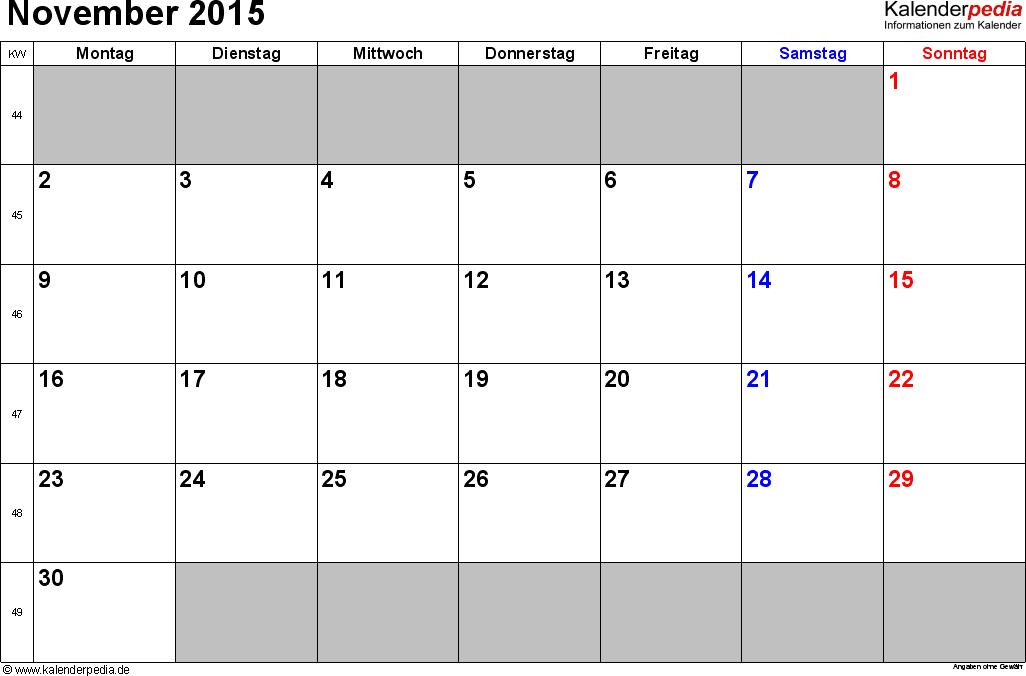 Kalender November 2015 im Querformat, kleine Ziffern
