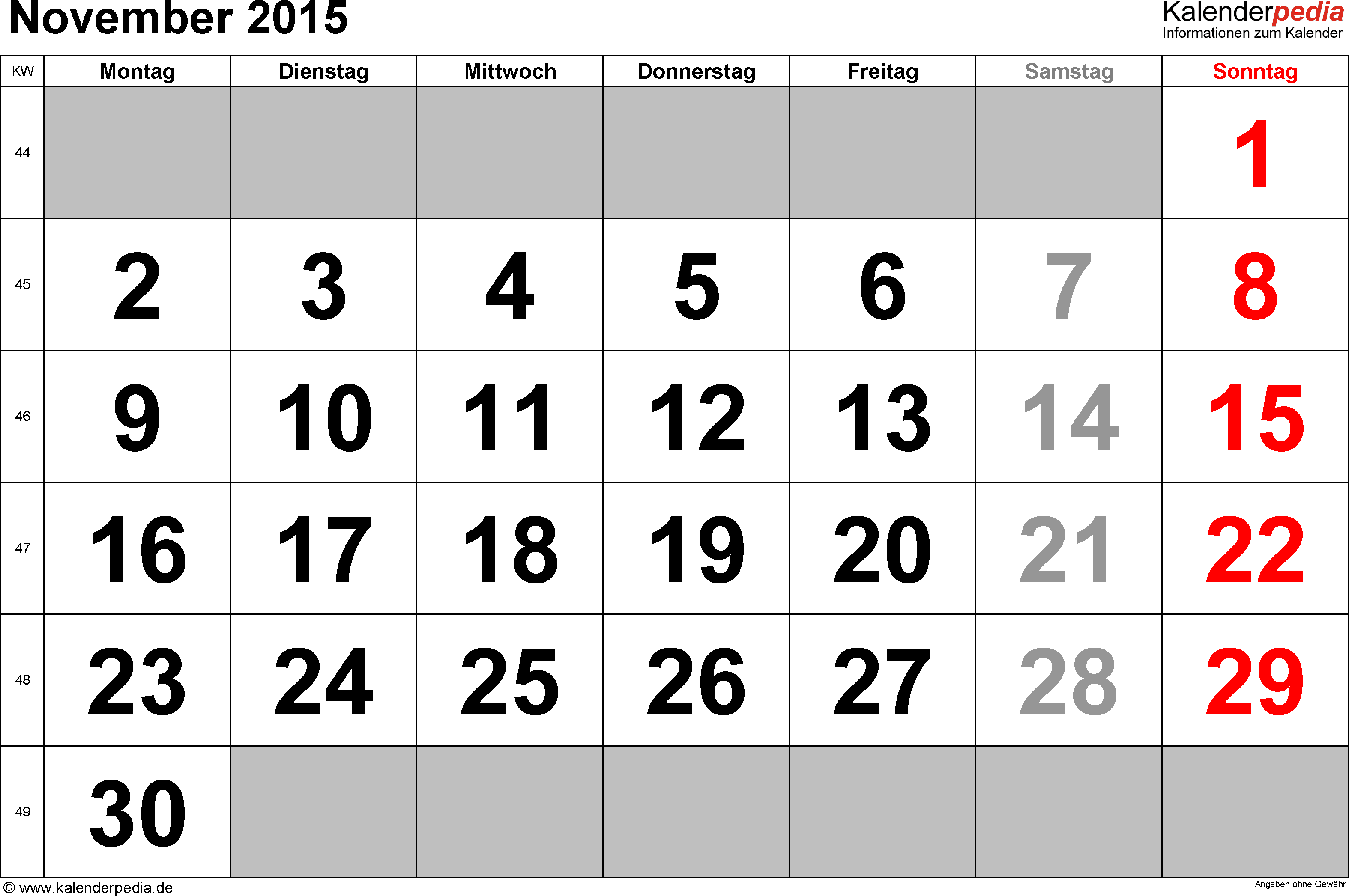 Kalender November 2015 im Querformat, grosse Ziffern