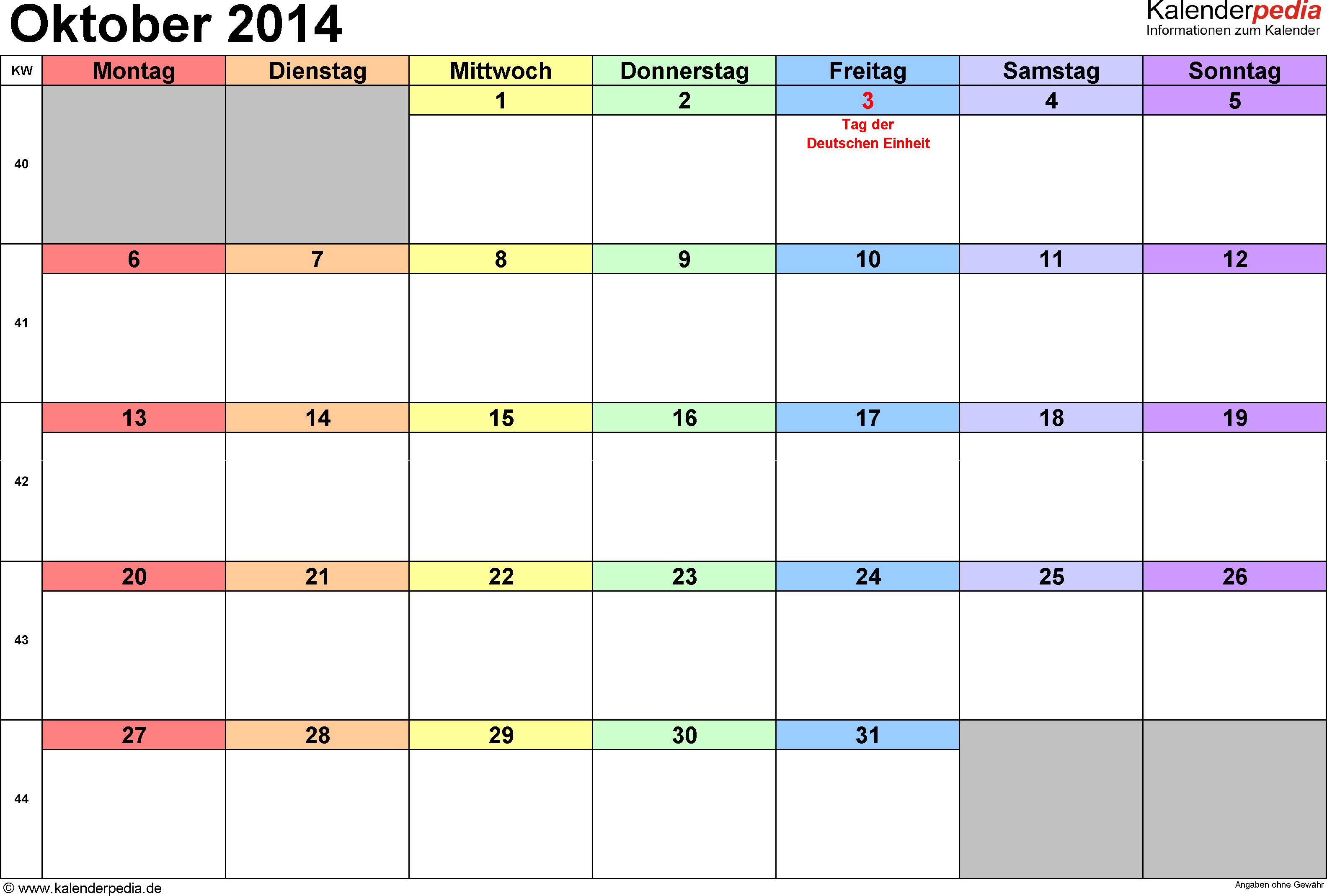 Kalender October 2014 (Querformat) als Word-Vorlage