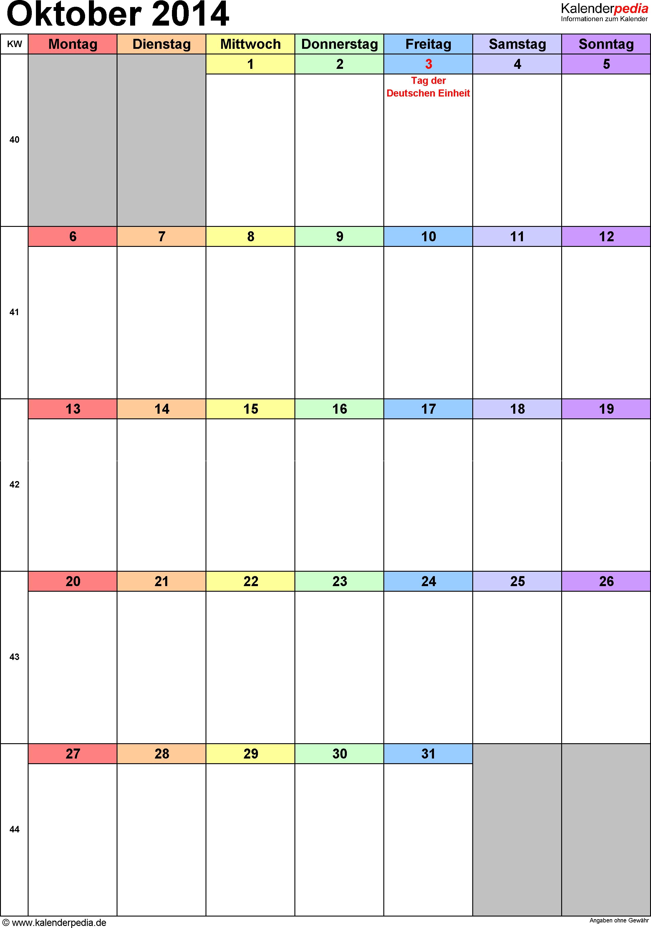 Kalender Oktober 2014 (Hochformat) als Word-Vorlage