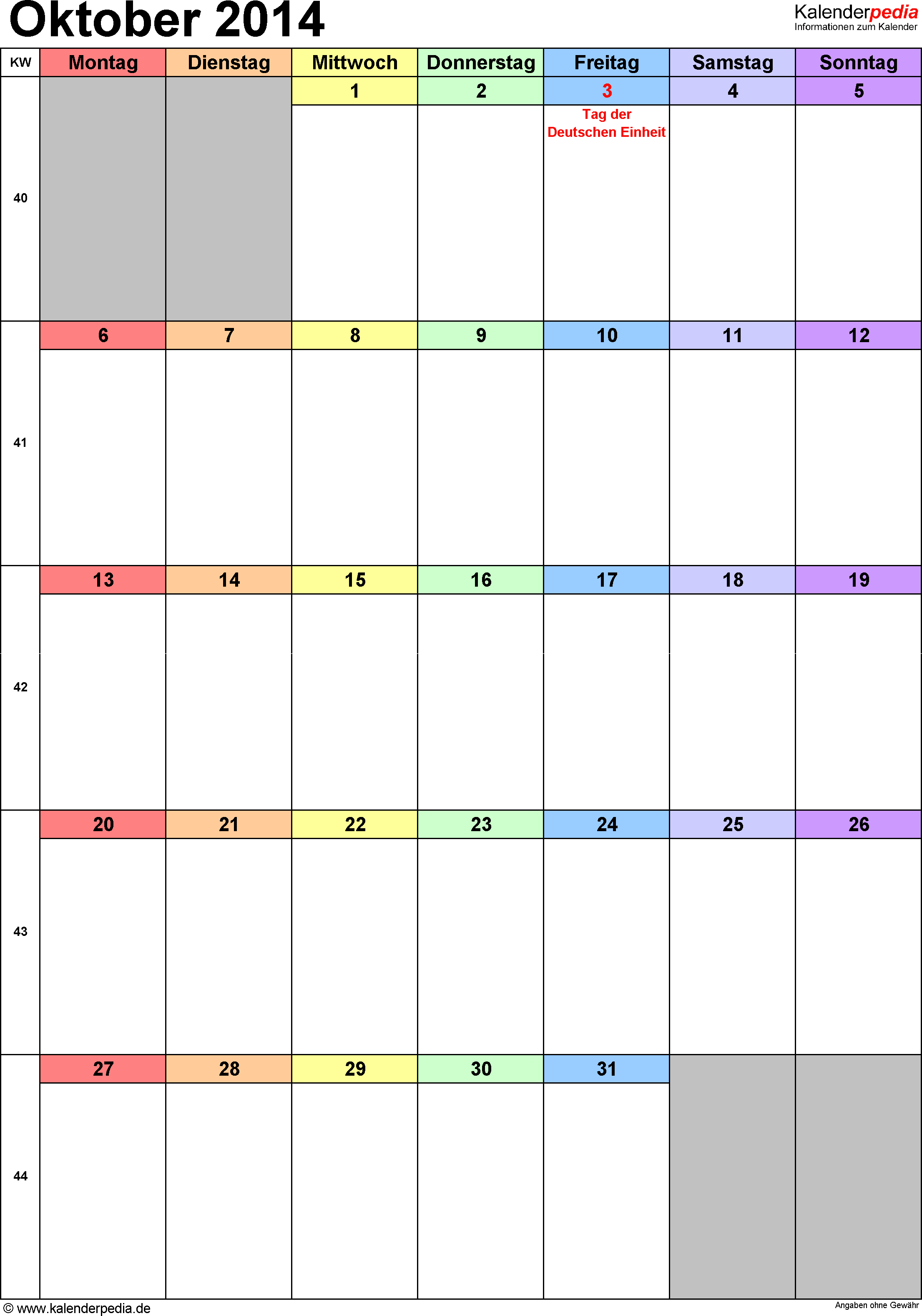Kalender October 2014 (Hochformat) als Word-Vorlage
