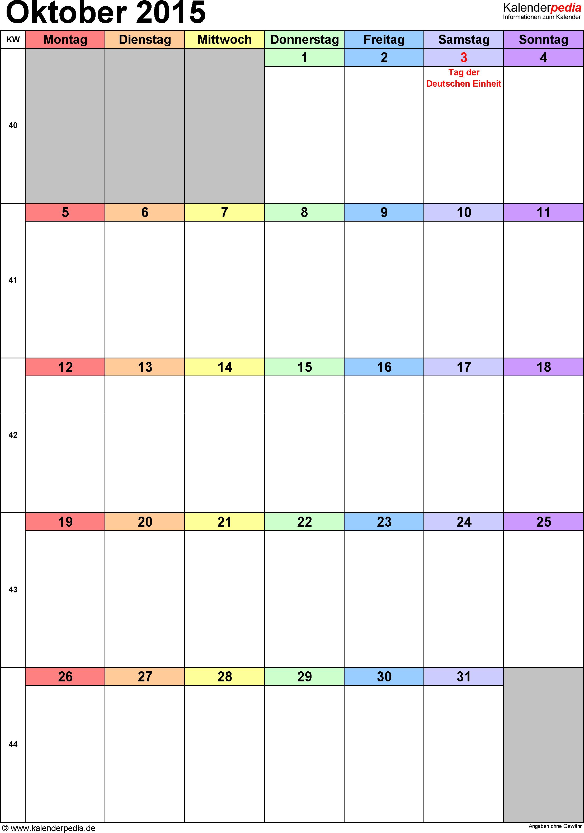 Kalender Oktober 2015 (Hochformat) als Excel-Vorlage