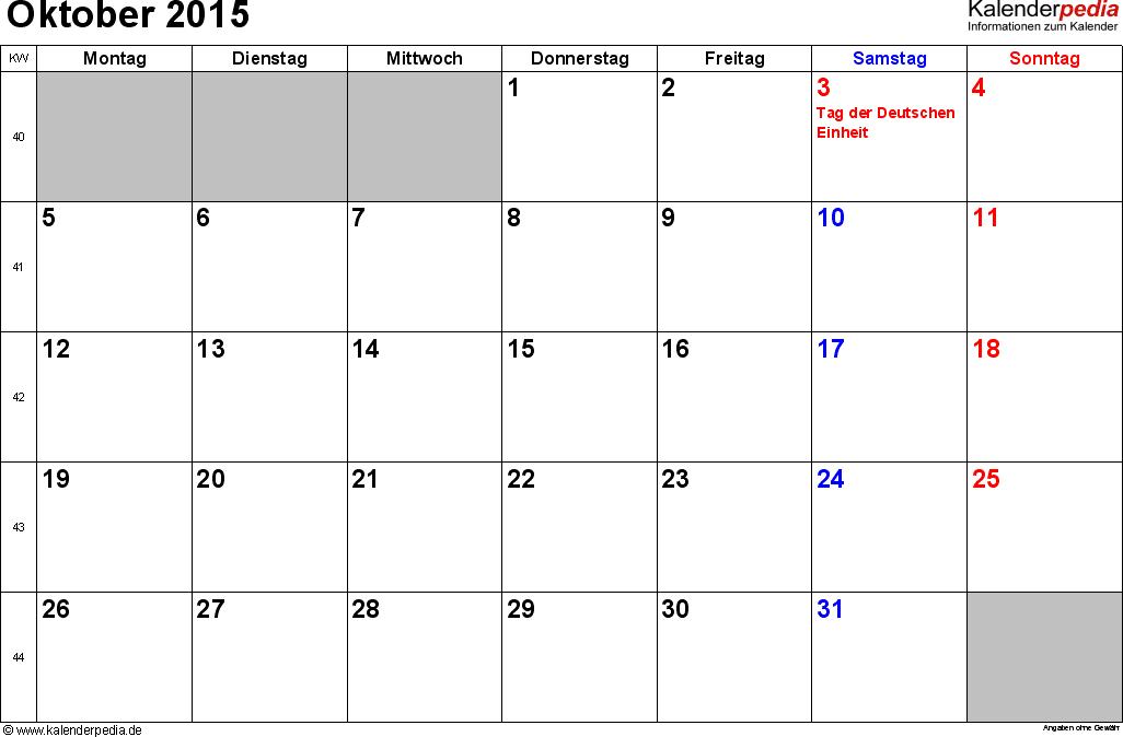 Kalender October 2015 im Querformat, kleine Ziffern