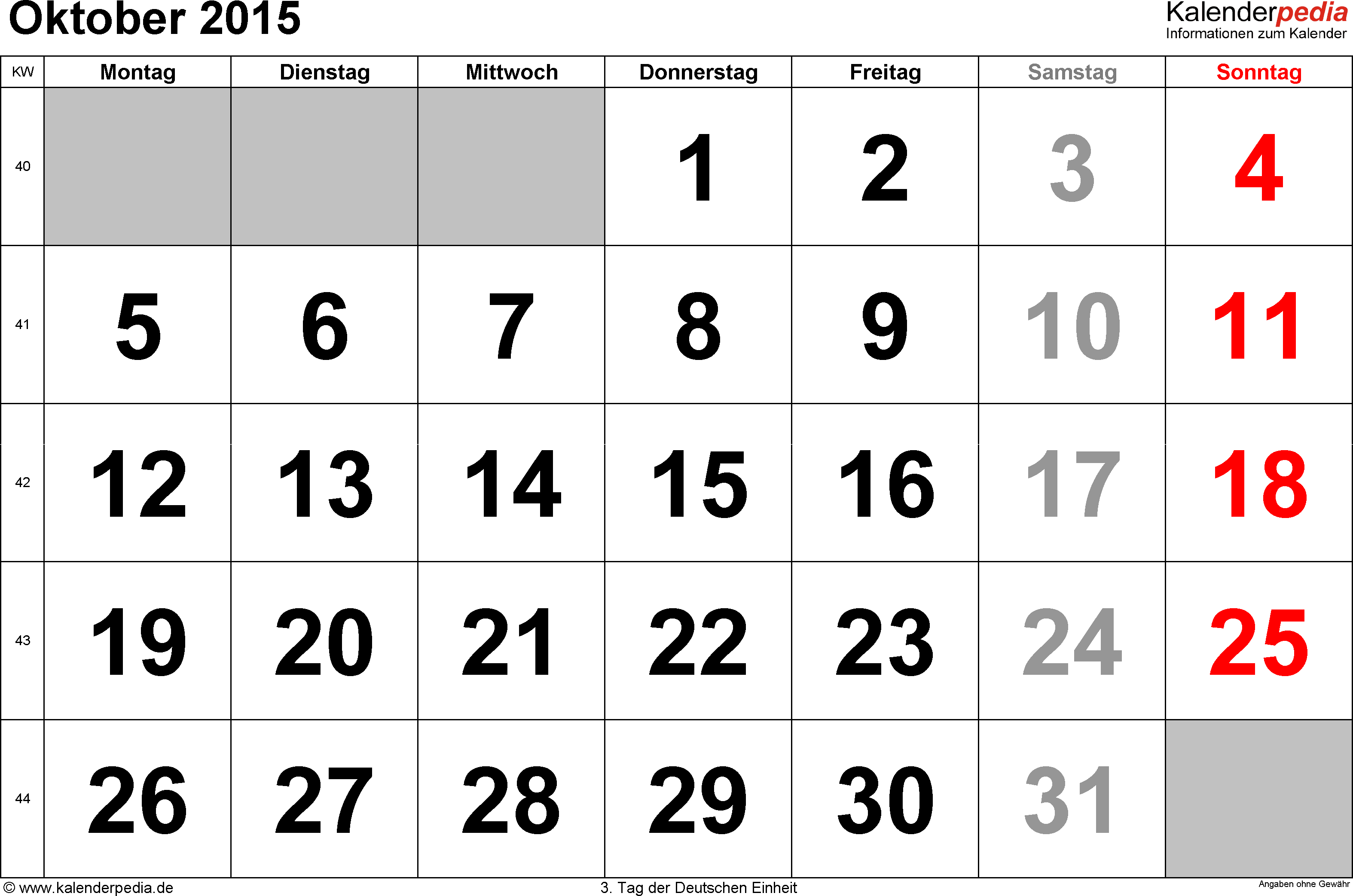 Kalender October 2015 im Querformat, grosse Ziffern
