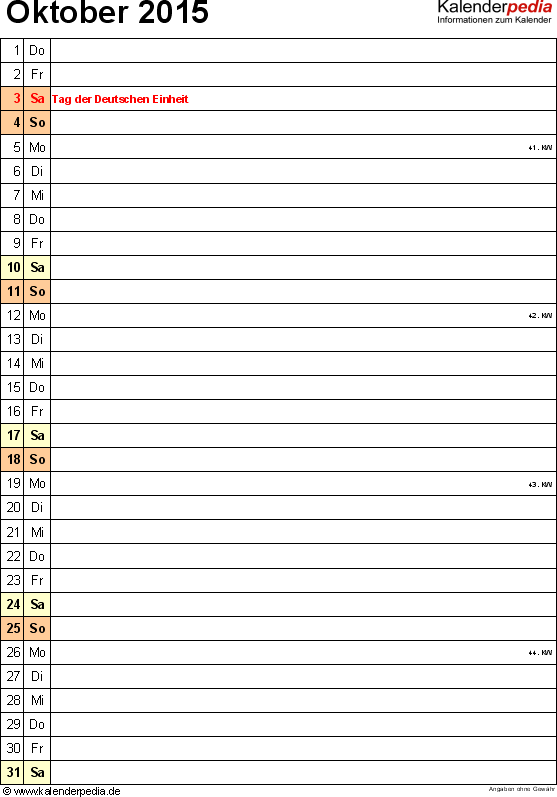 Kalender October 2015 (Hochformat) als Word-Vorlage