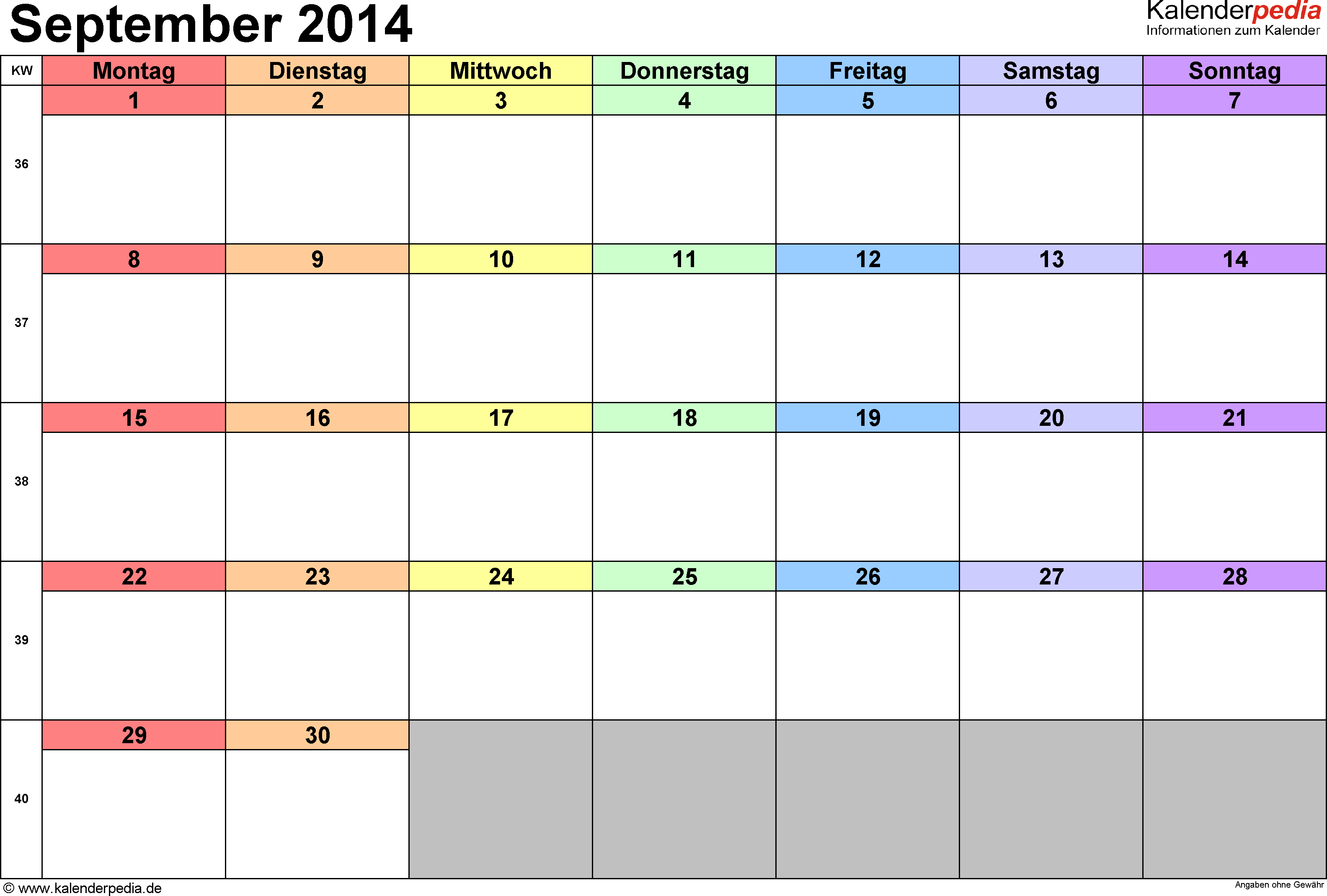 Kalender September 2014 (Querformat) als Word-Vorlage