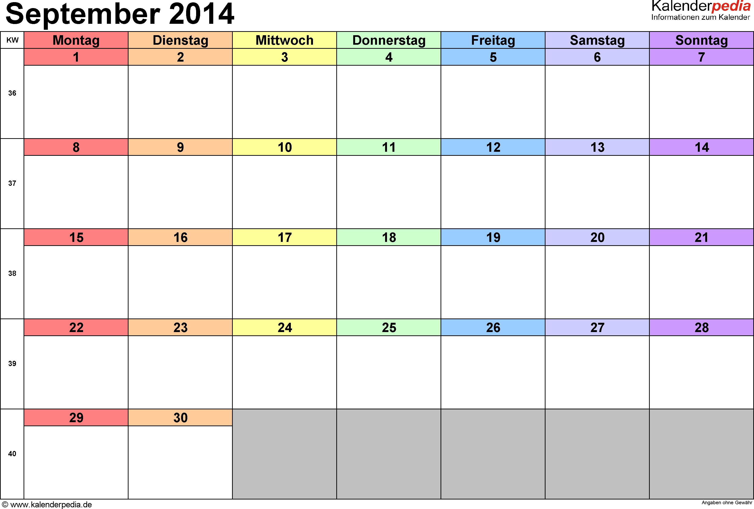 Kalender September 2014 (Querformat) als PDF-Vorlage