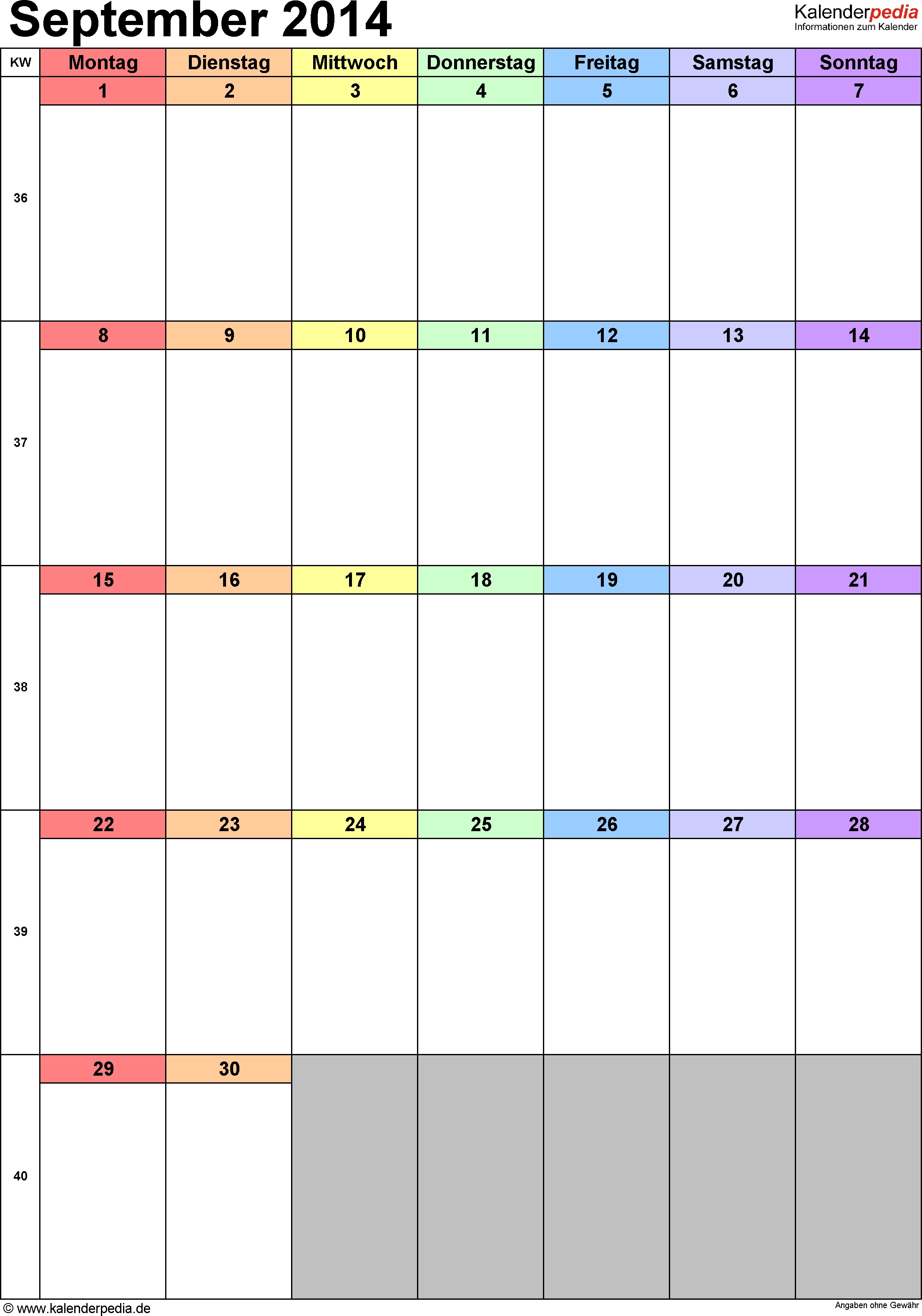 Kalender September 2014 (Hochformat) als Excel-Vorlage