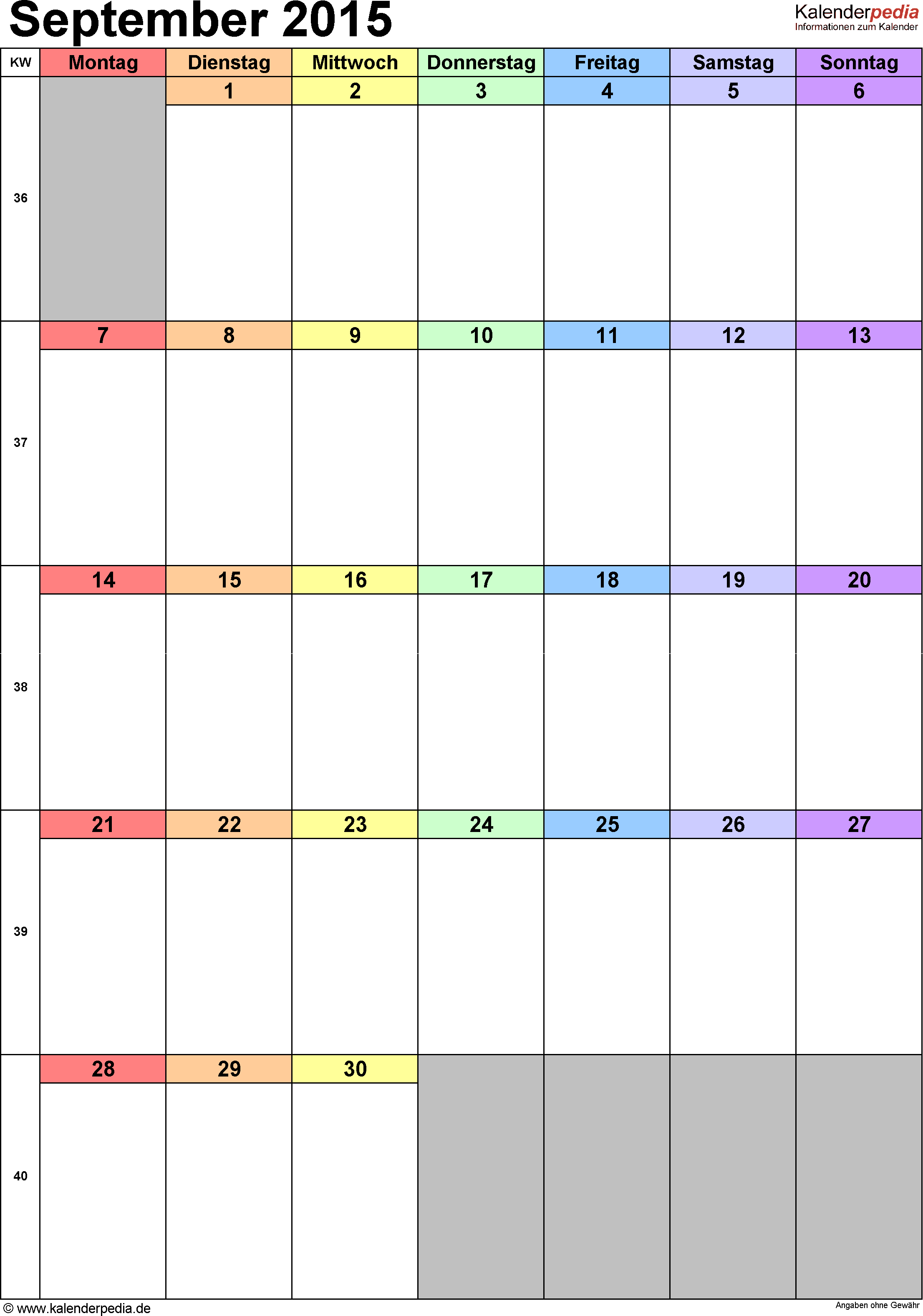 Kalender September 2015 (Hochformat) als Excel-Vorlage