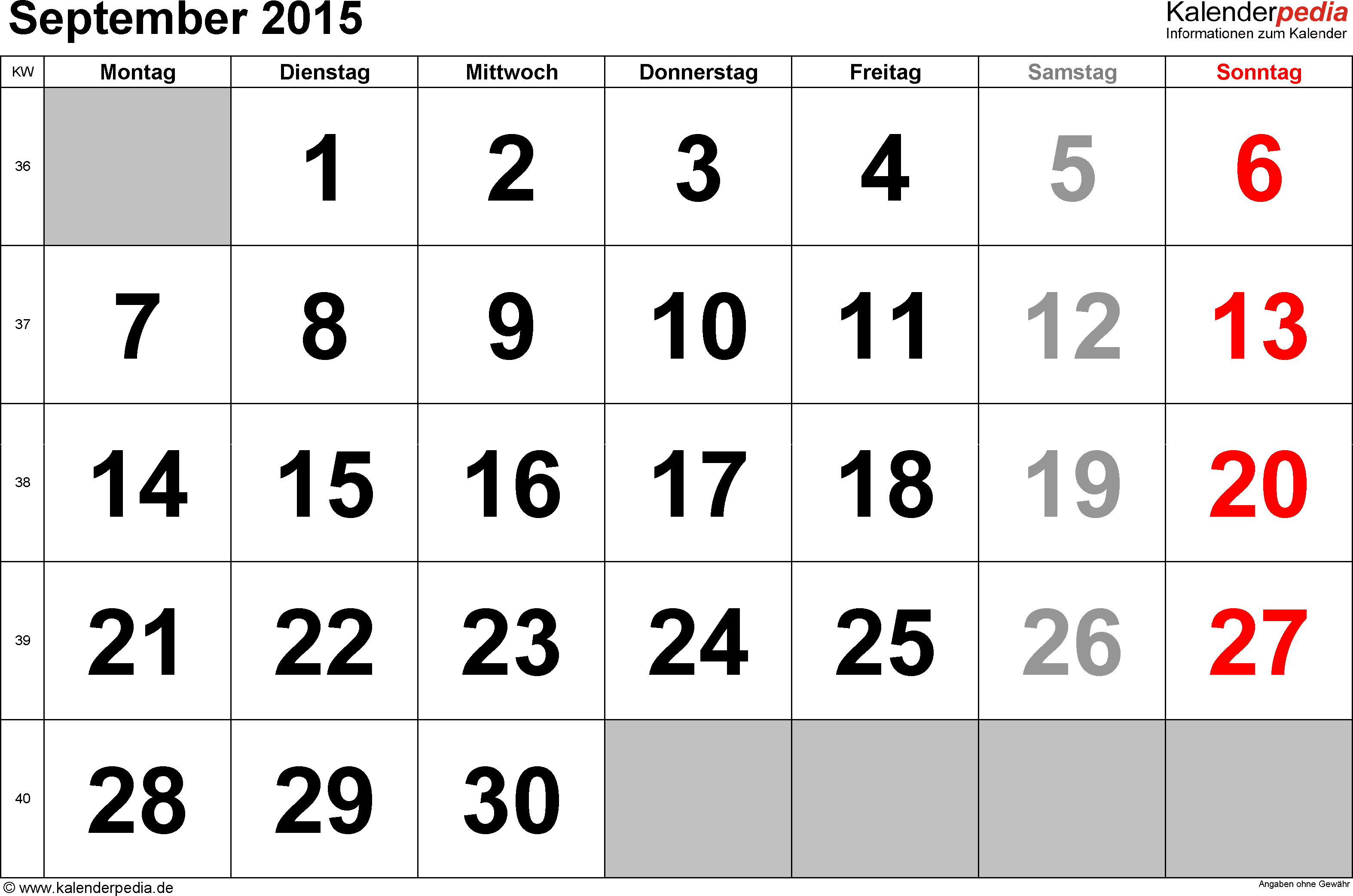 Kalender September 2015 im Querformat, grosse Ziffern