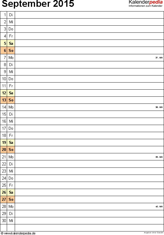 Kalender september 2015 als excel vorlagen