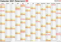 Vorlage 2: Kalender 2021 für Excel, Querformat, 1 Seite, Monate nebeneinander
