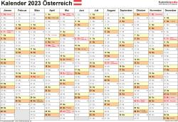Vorlage 2: Kalender 2023 für Österreich  im PDF-Format, Querformat, 1 Seite, Monate nebeneinander