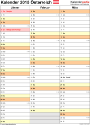Vorlage 12: Kalender 2015 für Excel, Hochformat, 4 Seiten, Quartal auf einer Seite