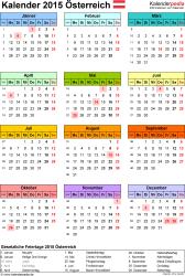 Vorlage 14: Kalender 2015 für Excel, Hochformat, 1 Seite, Jahresübersicht, in Farbe