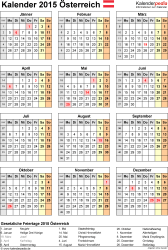 Vorlage 15: Kalender 2015 für Excel, Hochformat, 1 Seite, Jahresübersicht