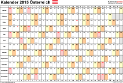 Vorlage 3: Kalender 2015 für Excel, Querformat, 1 Seite, Tage nebeneinander