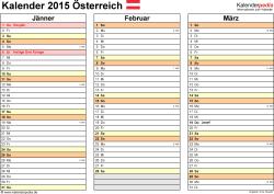 Vorlage 6: Kalender 2015 für Excel, Querformat, 4 Seiten, jedes Quartal auf einer Seite