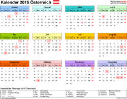 Vorlage 7: Kalender 2015 für Excel, Querformat, 1 Seite, Jahresübersicht, in Farbe