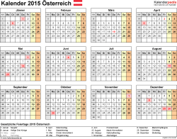 Vorlage 8: Kalender 2015 für Excel, Querformat, 1 Seite, Jahresübersicht