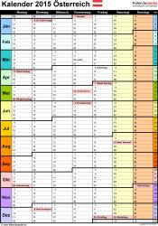 Vorlage 13: Kalender 2015 für Excel, Hochformat, 1 Seite, Wochengliederung