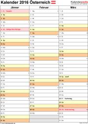 Vorlage 12: Kalender 2016 für Excel, Hochformat, 4 Seiten, Quartal auf einer Seite
