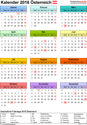 Vorlage 14: Kalender 2016 als PDF-Datei, Jahresansicht, Hochformat, 1 Seite, in Farbe
