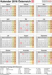Vorlage 15: Kalender 2016 als PDF-Datei, Hochformat, 1 Seite