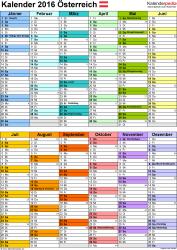 Vorlage 9: Kalender 2016 als PDF-Datei, Hochformat, 1 Seite, nach Jahreshälften untergliedert