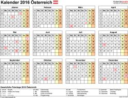 Vorlage 8: Kalender 2016 als PDF-Datei, Querformat, 1 Seite