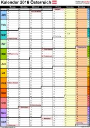 Vorlage 13: Kalender 2016 für Excel, Hochformat, 1 Seite mit Wochengliederung