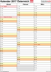 Vorlage 12: Kalender 2017 für Österreich als PDF-Datei, Hochformat, 4 Seiten, Quartal auf einer Seite