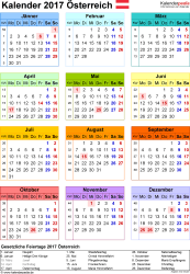 Vorlage 14: Kalender 2017 für Österreich als PDF-Datei, Hochformat, 1 Seite, Jahresübersicht, in Farbe