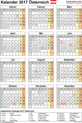 Vorlage 15: Kalender 2017 für Österreich als PDF-Datei, Hochformat, 1 Seite, Jahresübersicht